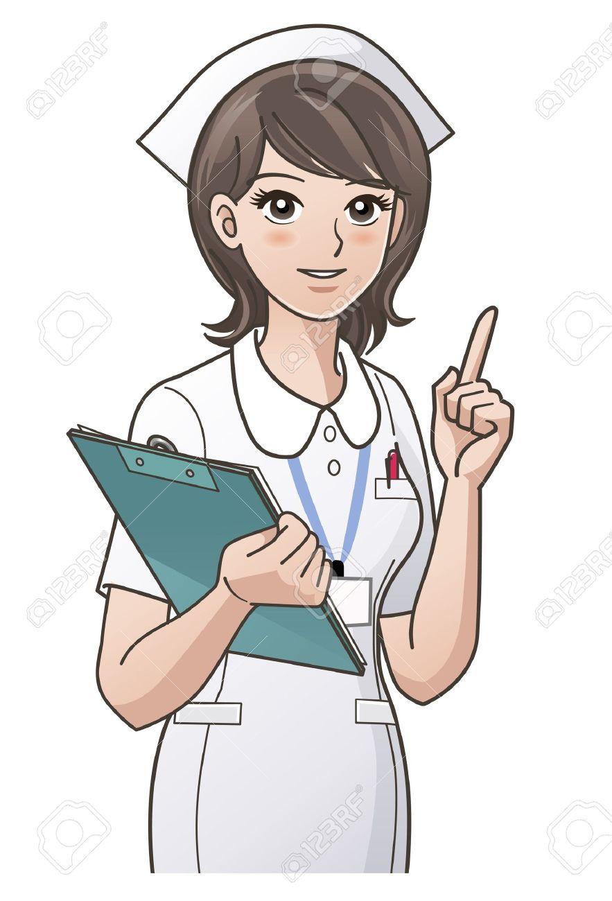 15117362-joven-enfermera-que-señala-el-dedo-índice-hacia-arriba